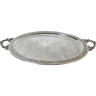 Exquisite XL Silver Plated Reed & Barton Tray Cupid Handles Pat'd 12/10/1867