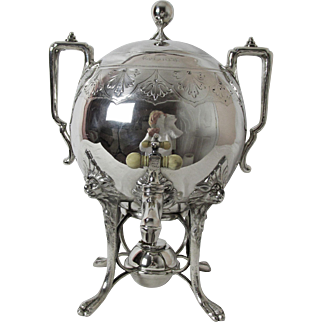Exceptional Early Reed and Barton Samovar or Hot Water Urn 15 cups Lion Head Feet