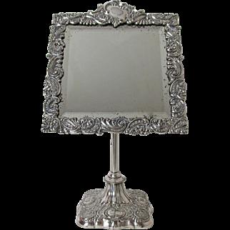 Very Fine Antique Meriden Silver Plated Adjustable Repousse Design Shaving /Dresser Mirror