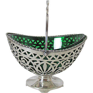 Very Fine Pairpoint Silver Plated Basket Emerald Green Glass Insert