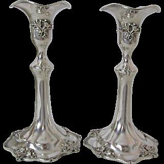 Very Fine Pair Derby Antique Silver Plated Art Nouveau Candlesticks