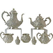 Exquisite Weidlich Bros Mfg Co 1900 – 1910 7 Pc Silver Plated Repousse Tea & Coffee Service