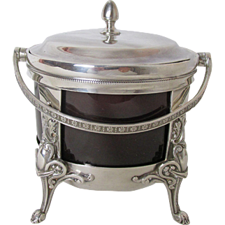 Very Fine Antique Silver Plated Master Sugar & Tea Caddy Cranberry Glass Insert