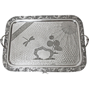 Early Meriden Britannia Silver Plated Butlers Tray Decorated with Dragonfly Spider Web and Water Lily