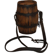 Primitive Wooden Barrel Canteen Flask