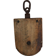 Very Large Primitive Wooden Block Pulley