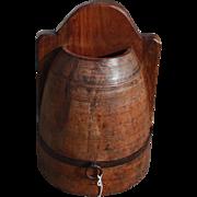 Antique Primitive Half Round Wooden Wall Pocket or Box