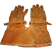 Vintage Leather Gauntlet Gloves