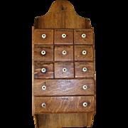Vintage Hanging Oak Spice Cabinet