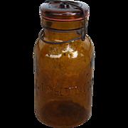 Vintage Amber Lightning Fruit Jar