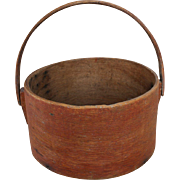 Early Primitive Painted Bentwood bucket /Box