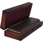 Pike Reversible Oil Stone Set in Custom Pike Manufacturing Oak Case with Brass Hardware