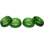 Vintage Green Glass Furniture Coasters