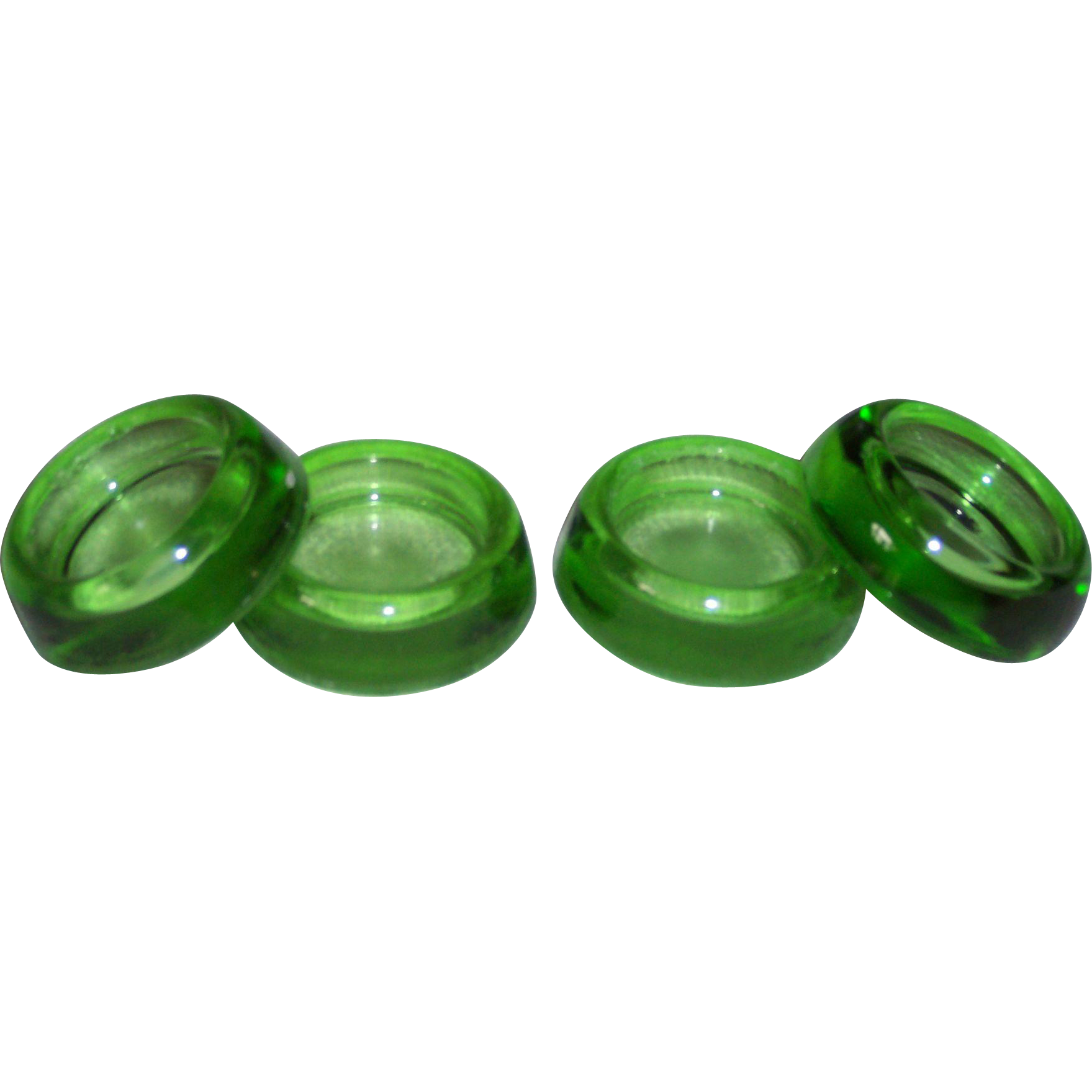 Vintage Green Glass Furniture Coasters from crows feet