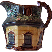 English Majolica Hexagonal Cottage Pitcher