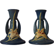 Pair of Roseville Pottery Candlestick Holders
