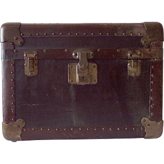 Diminutive Leather and Brass Trunk