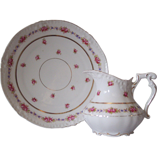 Hand Painted German Porcelain Plate & Pitcher