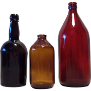 Three Antique and Vintage Beer/Ale Bottles