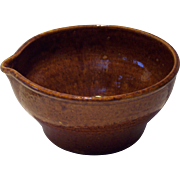 Early Brown Glazed Stoneware Mixing Bowl