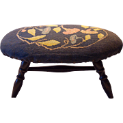 Windsor Style Footstool with Needlepoint