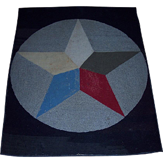 Early Hooked Rug on Burlap with 5 Point Star
