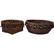 Pair of Northeastern Woodlands Native American Style Baskets