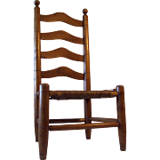 Antique Child's Tiger Maple & Maple Ladder Back Chair