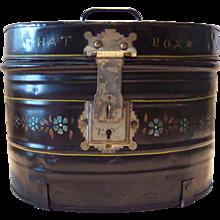 Tole Painted Metal Hatbox
