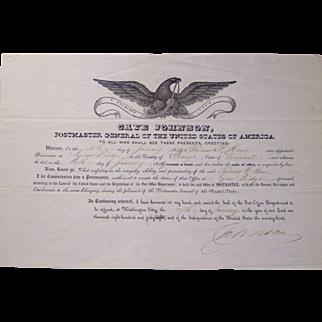 1849 Postal Broadside Signed by Cave Johnson