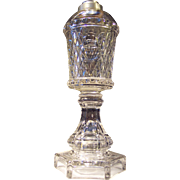 Pressed Inverted Diamond and Thumbprint Whale Oil Stand Lamp