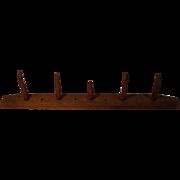 Primitive Hand Carved Peg Coat Hanger