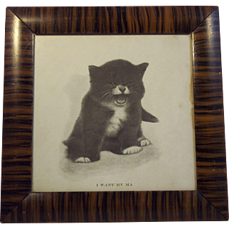 19th Century Kitten Print in Hand Painted Frame