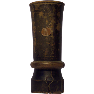 19th Century Turned and Painted Wood Treenware Mortar
