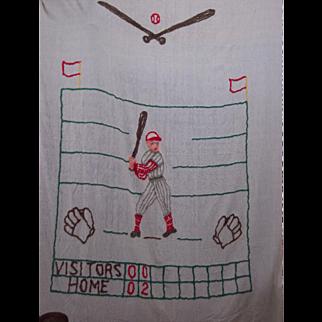 Mid Century Chenille Baseball Theme Bed Spread