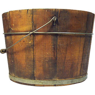 Early New England Wood Staved Bucket