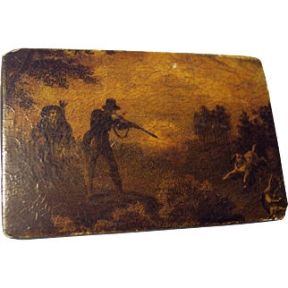 19th Century Hand Painted Paper-Mache Snuff Box