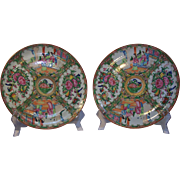 Pair of 19th Century Rose Medallion Plates - Red Tag Sale Item