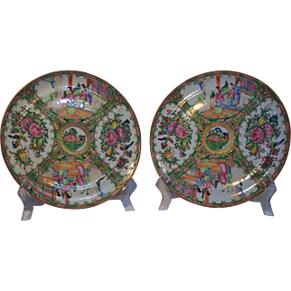 Pair of 19th Century Rose Medallion Plates