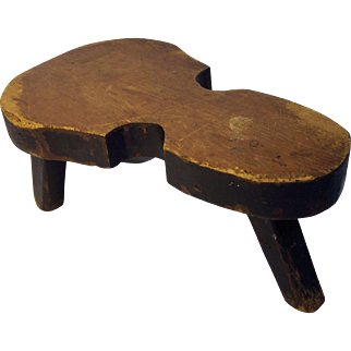 Folky Fiddle Shaped Foot Stool in Original Paint