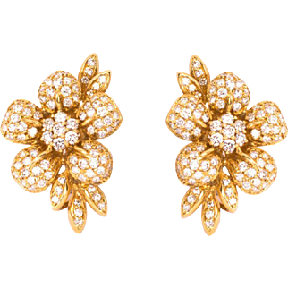 18 Karat Yellow Gold and Diamond Encrusted Earrings