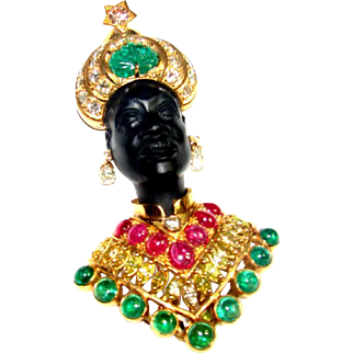 Denmer 18 Karat Yellow Gold Blackamoor Brooch