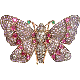 18 Karat Rose Gold, Diamond and Ruby Butterfly Brooch