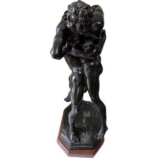 "After Antonio Pollaiuoso (1433-1498) ""Hercules and Antaeus"" Bronze Sculpture."