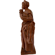Patinated Terracotta figure of a maiden carrying a pitcher. XIXth Century. French