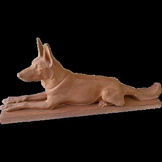 """Max Le verrier (1891-1973) """"German Shepherd"""" Terracotta Art Deco Sculpture"""