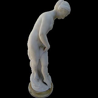 """Guglielmo PUGI (1865-1950)""""The Bather"""" Sculpture in White Marble"""