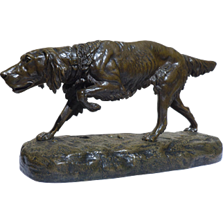 Clovis Edmond Masson (1838-1913) Large Bronze Setter Dog.