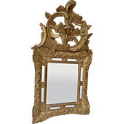 18th century gilt mirror, Louis XIV with fronton