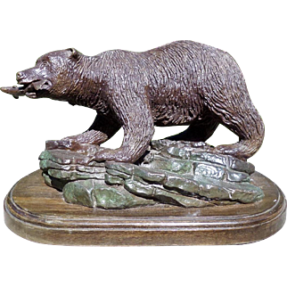 Bronze Bear with Salmon, signed Calvete. Limited edition.
